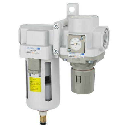 PneumaticPlus SAU420-N06DGS Compressed Air Filter Regulator Combo 3/4 inch NPT - Poly Bowl, Auto Drain, Bracket, Embedded Gauge