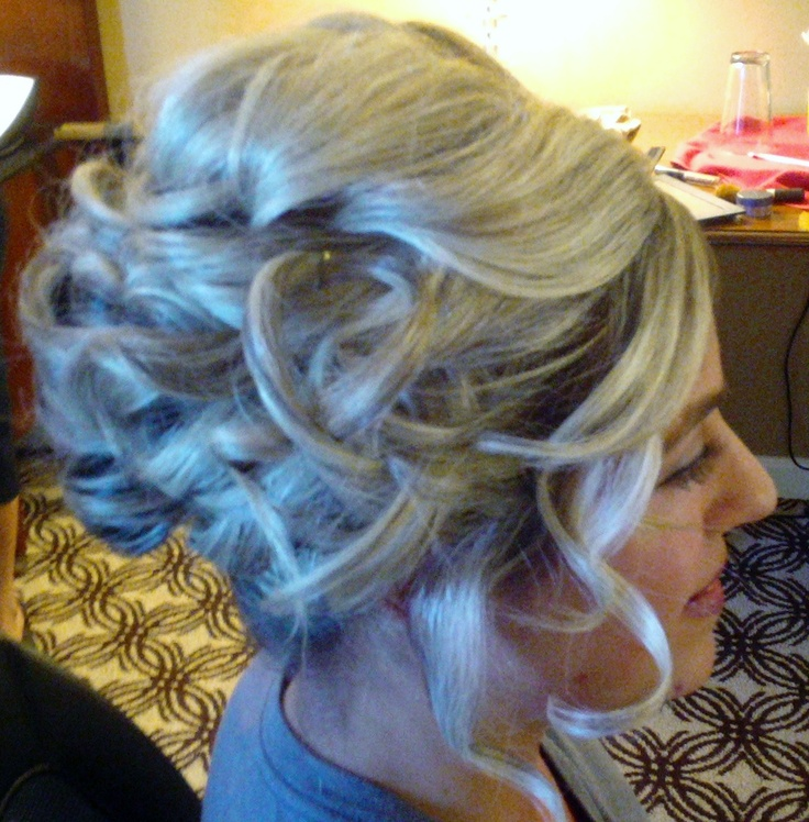 Bridal Updo by Rochelle Noone  Bridal hair , bridesmaid hair , bridal hair , bridal party hair , by Rochelle Noone on location bridal hairstylist Pittsburgh Pa .