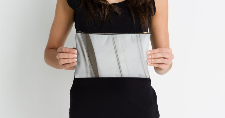 Abstract Black & White Stripes Studio Pouches by Galerie 503