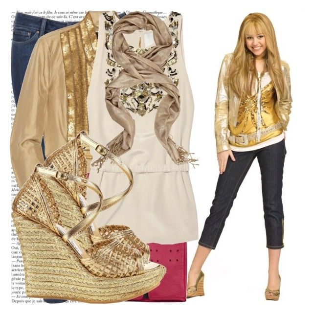 """""""hannah montana season 2."""" by valerieking ❤ liked on Polyvore featuring Levi's, Robert Rodriguez, Forzieri, 3.1 Phillip Lim, Oasis, Jimmy Choo, wedge shoes, skinny jeans, fingerless gloves and skinny pants"""