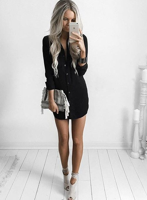work outfit black dress fashion blogger