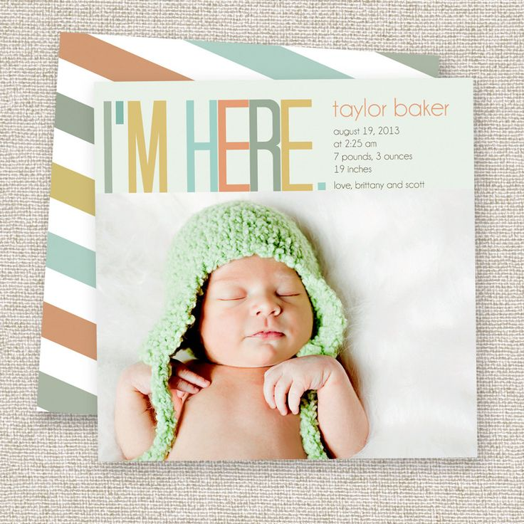Birth Announcement Baby Boy or Baby Girl Card Modern photo baby announcement