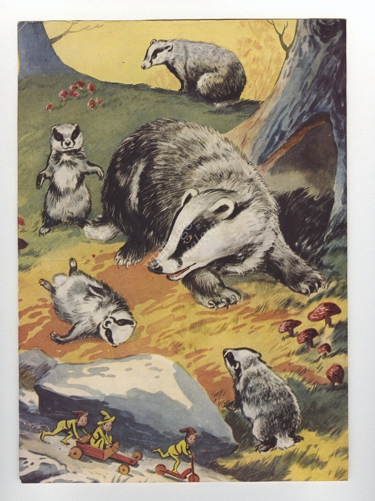1950s BADGER print woodland decor vintage illustration, Enid Blyton bedroom decor animal. $12.95, via Etsy.