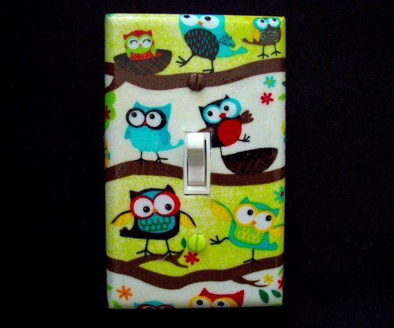 Owls Light Switch Cover Owl Nursery Decor by cathyscraftycovers