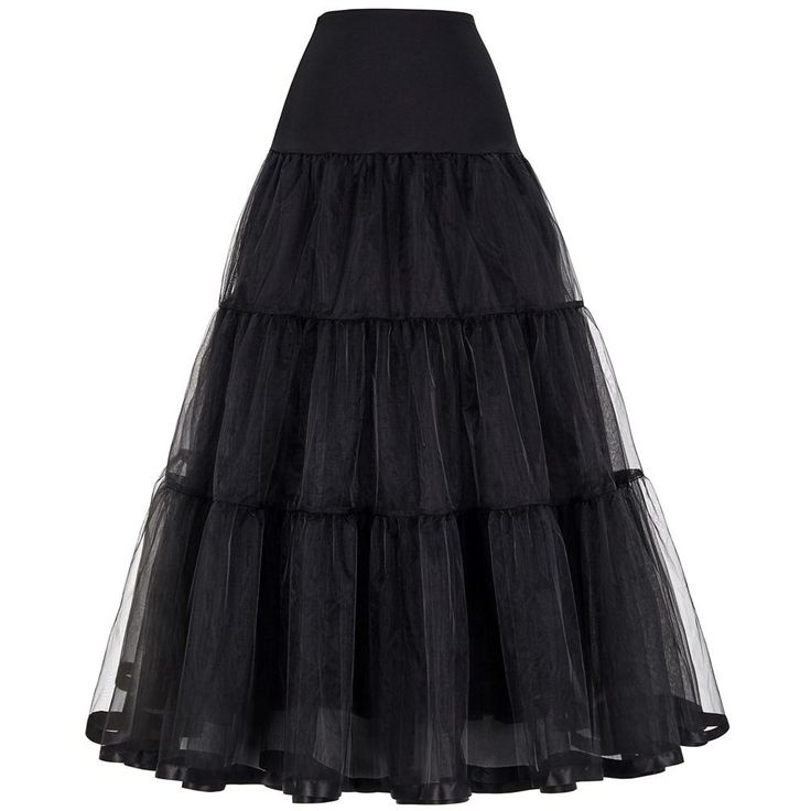 Womens Gothic Pleated Long Black Tulle Skirt Petticoat