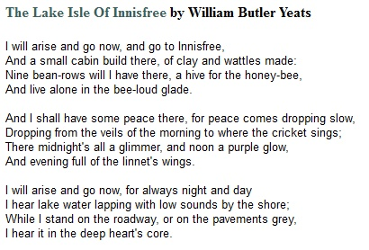 an analysis of the lake isle of innisfree by william butler yeats In william butler yeats poem 'the lake isle of innisfree,' the author presents an idyllic setting in this lesson, we will both summarize and analyze this 3-stanza poem and discover what drew yeats to this peaceful place of refuge on lough gill in ireland.