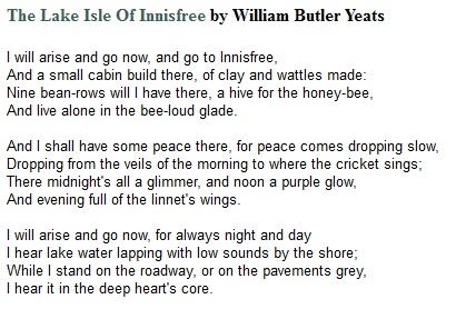 """The Lake Isle of Innisfree"" by W. B. Yeats"