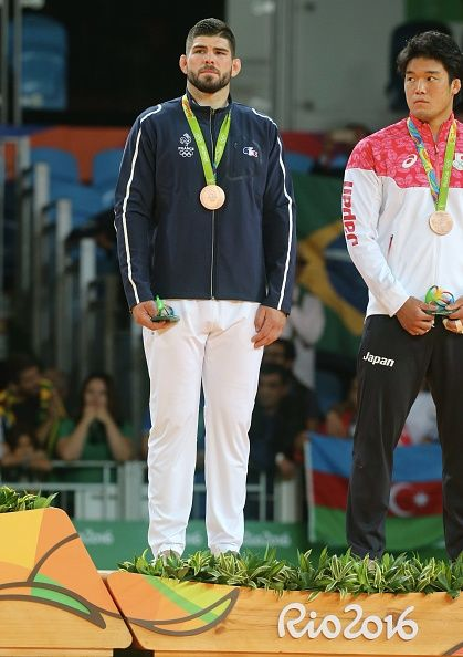 #RIO2016 Cyrille Maret of France celebrates his bronze medal after the final Judo men's 100kgs at Carioca Arena 2 during Day 6 of the 2016 Rio Olympics on...