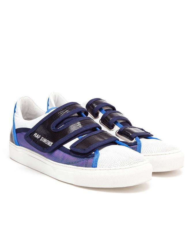 RAF SIMONS | Embossed Leather and Canvas Trainers. Driving ShoesLow ...