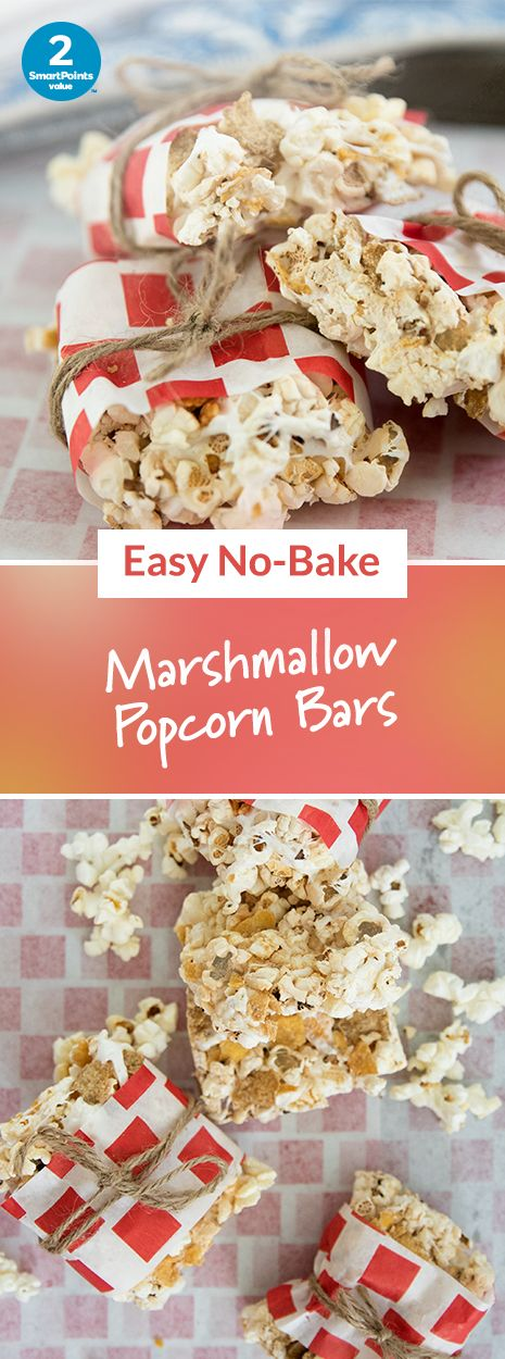 Chewy Marshmallow-Peanut Popcorn Bars: 2 SmartPoints per bar | Looking for easy, no-bake snacks? Make these fun snack bars with the kids!