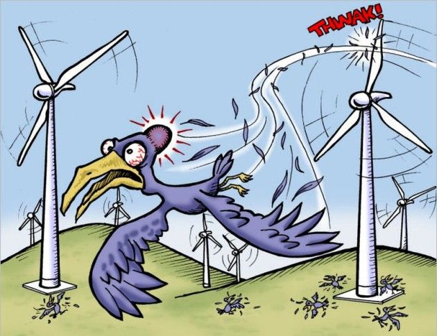 Wind turbines clearing our skies of toxic birds