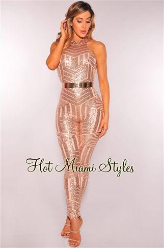 Rose Gold Sequins Open Back Jumpsuit