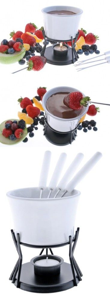 Swissmar Kindle 7 Piece Chocolate Fondue Set, White