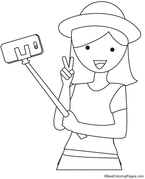 Girl With Selfie Stick Coloring Page With Images Coloring