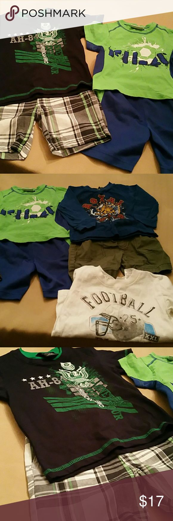 Lot of 7 Pieces Little Boys Clothing What you get....  4- Shirts (3 Short Sleeve and 1 Long)  3- Shorts  All Clothing are Size 2T Matching Sets
