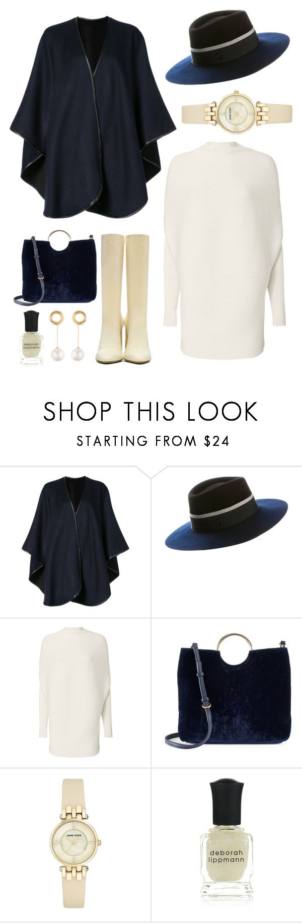 """""""Untitled #5897"""" by im-karla-with-a-k ❤ liked on Polyvore featuring Sofiacashmere, Maison Michel, Designers Remix, LC Lauren Conrad, Anne Klein, Deborah Lippmann and Joanna Laura Constantine"""