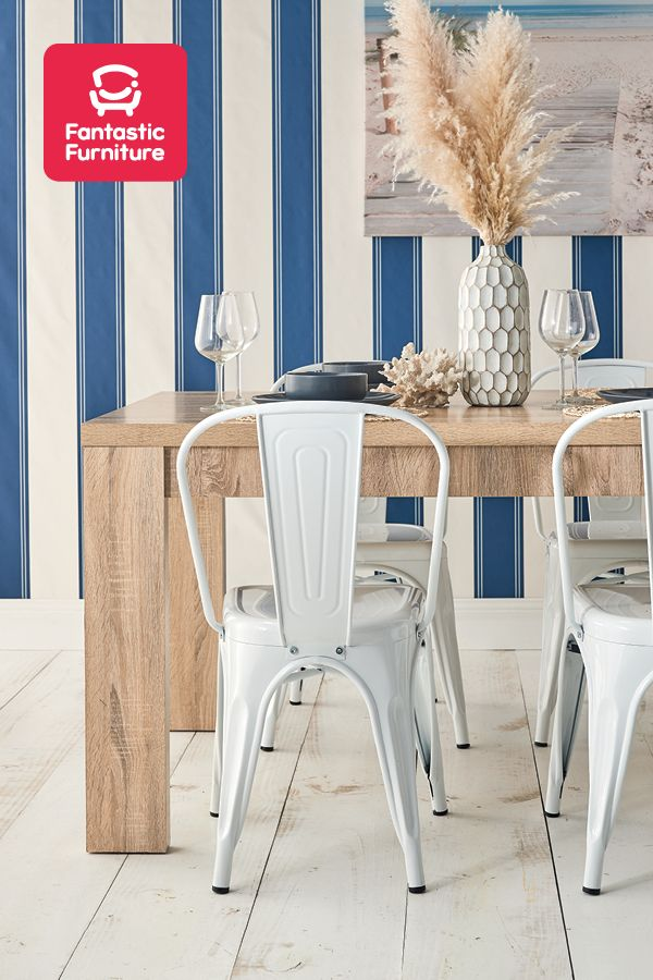 Coastal Designer Dining Tolix Chair 7 Piece Dining Set Timber Dining Table
