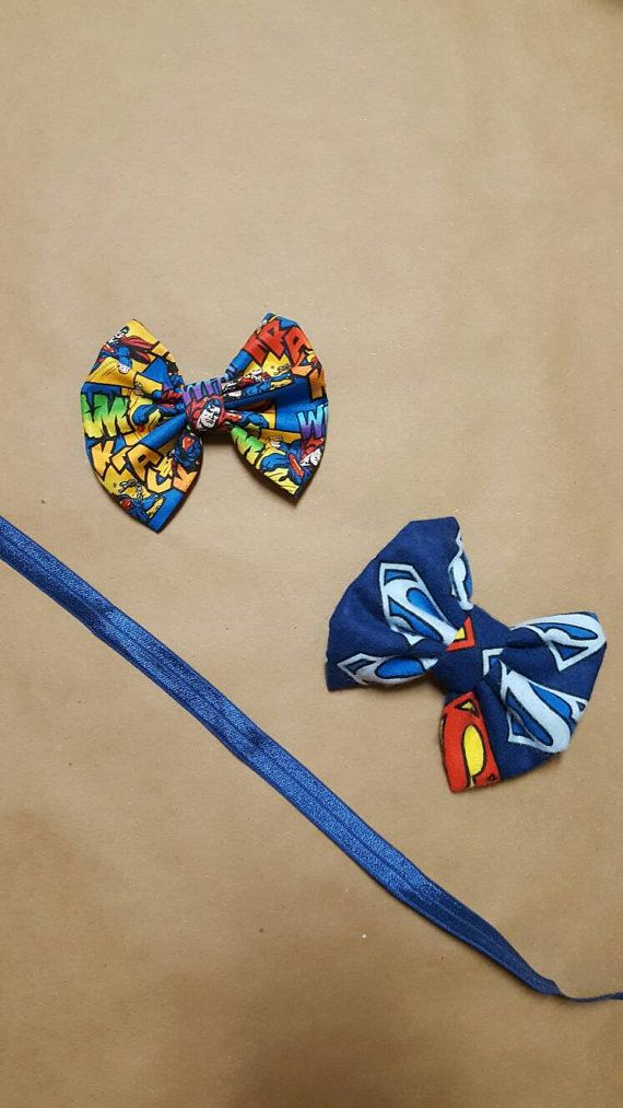 Check out this item in my Etsy shop https://www.etsy.com/listing/484546577/superman-hair-bows-superman-hair-clips