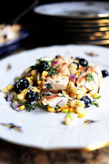 Best salad EVER, introduced to my life by @Jillian Embrey. Chicken, feta, corn, celery, red onion, blueberries, dill... other stuff... @Caitlin Rhodes knows what it's all about. Easy and GOOD. Every time I make it, I wish I'd tripled the recipe.