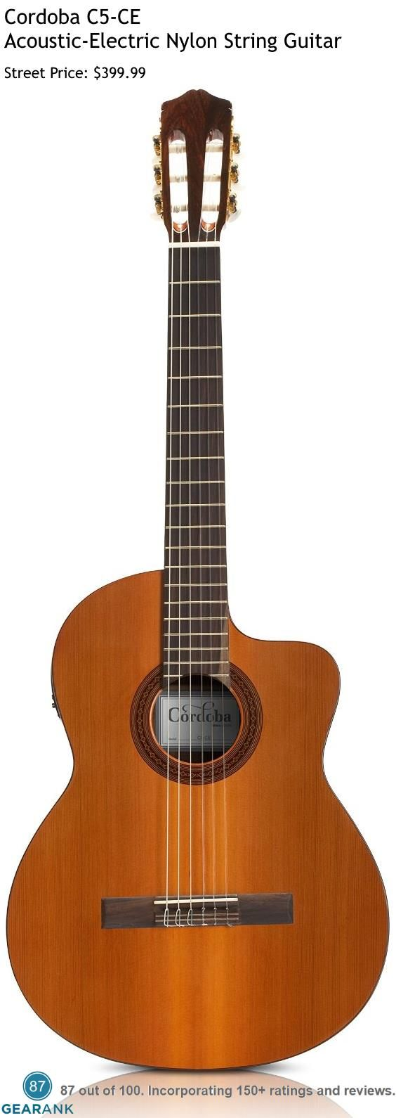 Cordoba C5-CE Acoustic-Electric Nylon String Guitar. Part of the Iberia series, the Cordoba C5-CE has a solid Canadian cedar top and mahogany body.  The Fishman Isys+ 2band pickup system produces a rich and natural sound when amplified - perfect for gigging and recording. For a detailed guide to Nylon String Guitars see https://www.gearank.com/guides/nylon-string-guitar