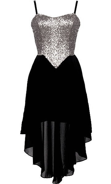 Tinsel Town Dress: Features fully adjustable spaghetti straps supporting a glittering silver sequin bodice, cleverly angled waist shape for an instant slimming effect, flowing black high-low chiffon skirt with inner lining for no show-through, and an edgy exposed rear zipper to finish.