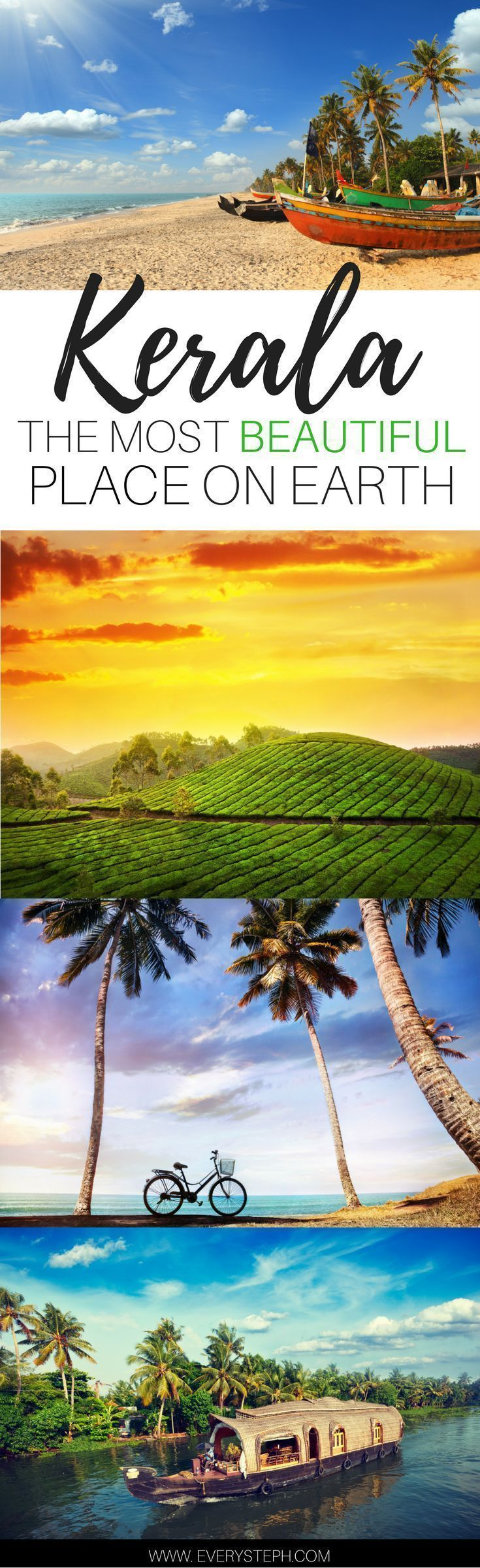 Why Kerala, India, must be the most beautiful place on Earth. An introduction to Kerala through the 5 senses. Backwaters, houseboats, the Munnar tea plantations, beaches, and temples...Kerala is all of this and much more! | India Travel Tips | Travel In #beachtravel