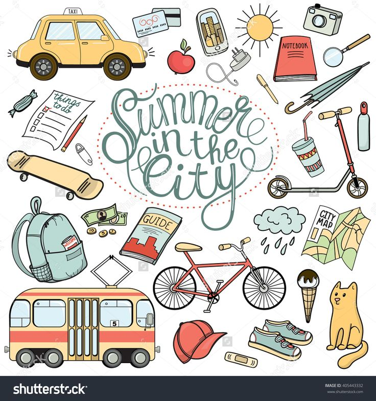 Summer In The City Hand Drawn Doodle Set
