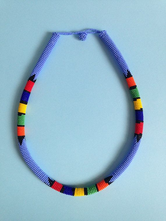 Traditional Zulu Necklace  lavender blue by NOUSH on Etsy