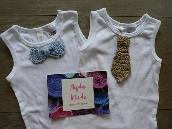 Baby boy onesie / bodysuit with crochet tie or bow tie