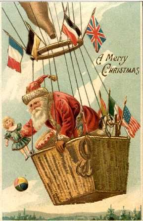 Santa delivers gifts via hot air balloon in this wonderful postcard from Christmas Past.
