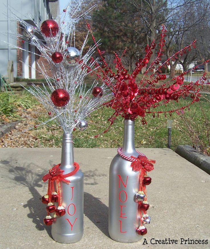 Wine bottle decor for Christmas