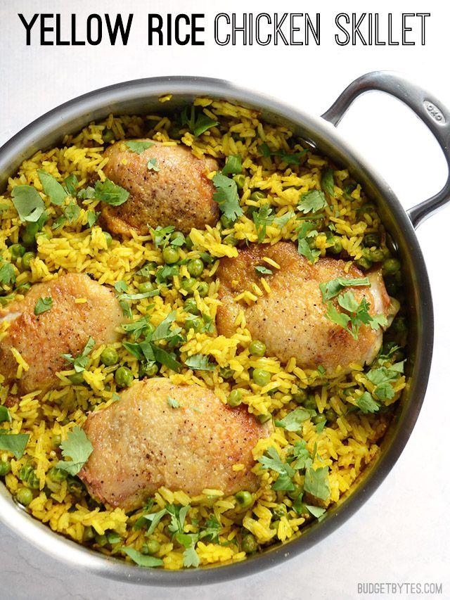 Yellow Rice Chicken Skillet - BudgetBytes.com