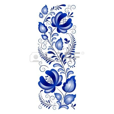 Russian ornament style Gzhel Gzhel brand Russian ceramics, painted with blue on white Stock Photo