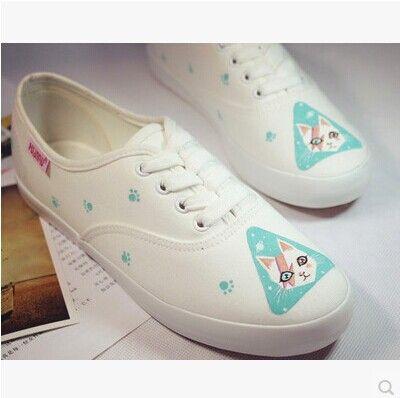 Бесплатная доставка 2014 новинка стиль кошка сладкий свежий малый легкую обувь рукопечатных женщины парусиновые туфликупить в магазине SmashнаAliExpress