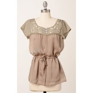 $22 Relaxed fit short sleeve top with beaded yoke and drawstring waistband.  In Dune and Fir.