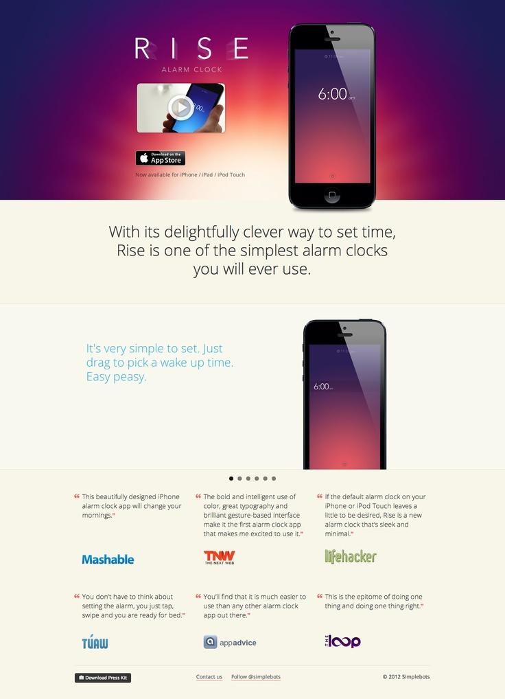 R I S E  / #iPhoneApp #landingpage #webdesign
