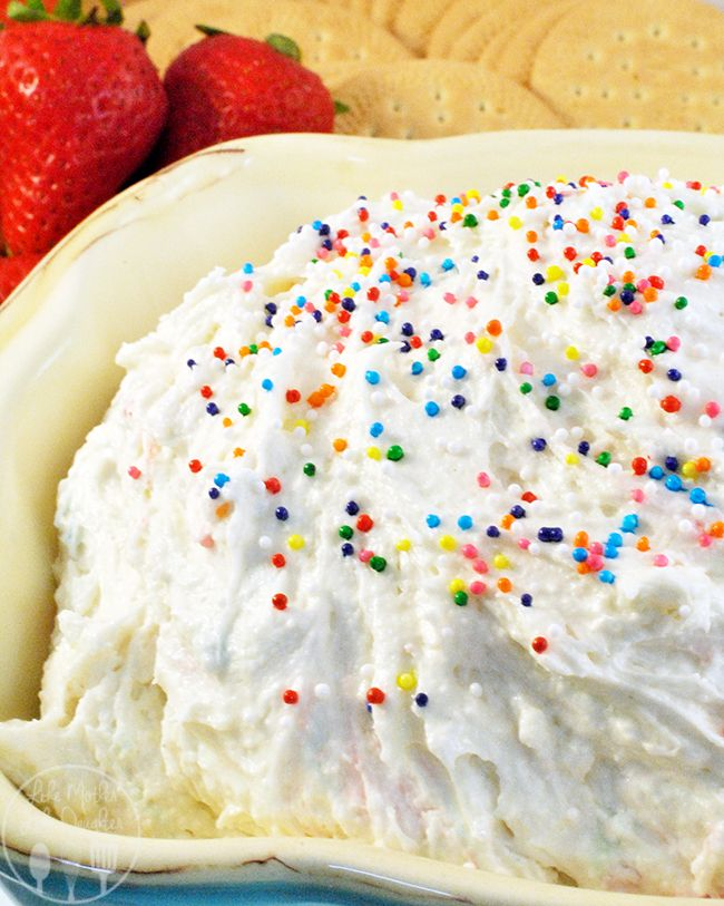 Funfetti Cake Batter Dip - Let's make snacking even more fun with funfetti cake batter dip. Easy to make, tasty to eat, enjoy with your favorite dippers like pretzels or strawberries.