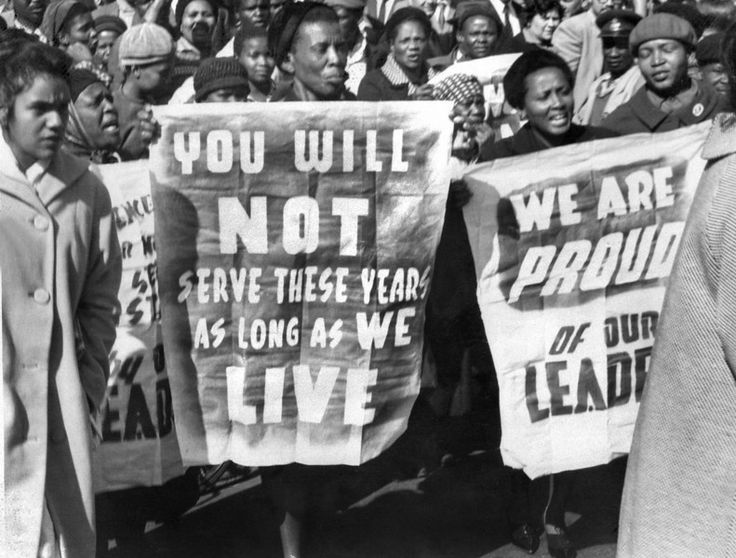 African women demonstrate in front of the Law Courts in Pretoria, 16 June 1964, after the verdict of the Rivonia trial, in which eight men, including Nelson Mandela, were sentenced to life imprisonment. (Never Forget: Reagan, Thatcher, Dick Cheney all wanted and worked to keep Mandela in prison until his death. Cheney has stated he never regretted his vote against anti-apartheid measures in the U.S. Congress. rw)