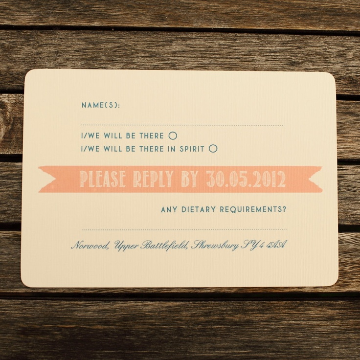 """I like the """"be there in spirit"""" wording!  Wedding RSVP Cards"""