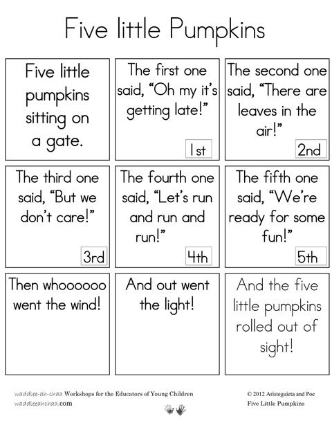 Five Little Pumpkins-sequence cards