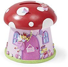 Beautiful Toadstool Shaped 'Fairy House' Kids Money Box - Glittery Hand Painted Kids Piggy Bank - Lucy Locket