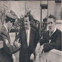 In front of the house at Goethestraße 14 in Bad Nauheim, Germany on March 1, 1960. The man in the middle is FILMJOURNAL editor, Hartmut Wrede, who delivers farewell greetings from the German fans.