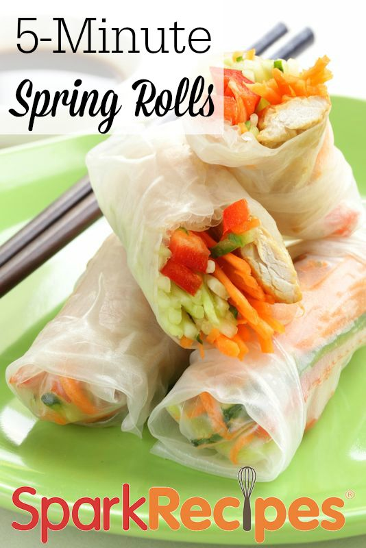 This recipe is really easy; it's really more of a process than a recipe. Rice paper wrappers, which are available in the ethnic sections of most larger supermarkets these days, are a great way to wrap your veggies and protein for a quick snack or light lunch.
