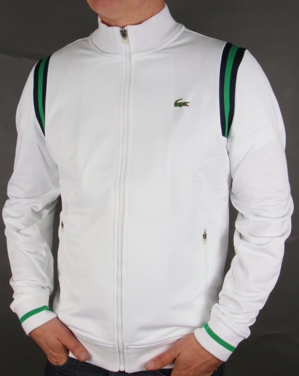 e70d0dbf5 Lacoste Shoulder Stripe Track Top White Green Navy