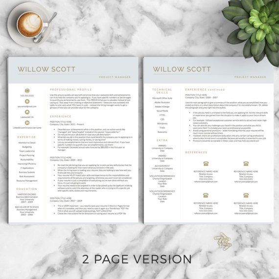 Modern Resume Template for Word and Pages by LandedDesignStudio
