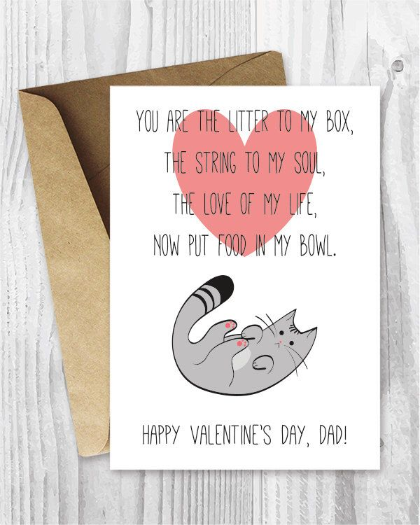 Funny Printable Valentine, Valentine's Day Dad Card, Cat Dads, Valentine from Cat, Poem from the Cat Card, Instant Download by MiumiCatPrintables on Etsy https://www.etsy.com/listing/221034371/funny-printable-valentine-valentines-day
