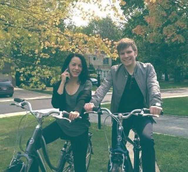 Patrick stump and his wife. They're so cute together.