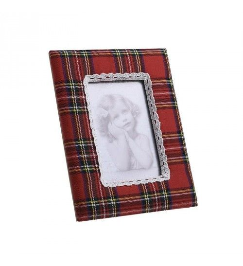 FABRIC PHOTO FRAME IN RED CHECK 13X18