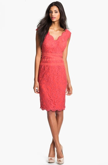 Tadashi Shoji Lace & Tulle Sheath Dress available at #Nordstrom - mother of the bride?