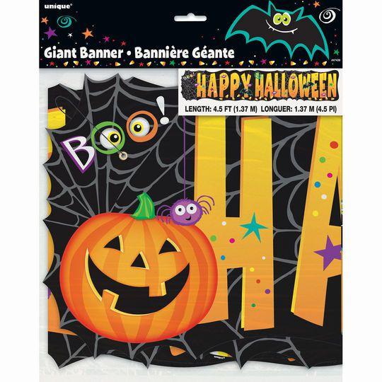 Jointed Pumpkin Pals Happy Halloween Banner, 4.5 Ft.